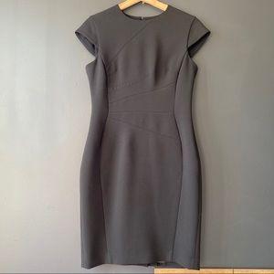 Cue City Cap Sleeve black pencil dress